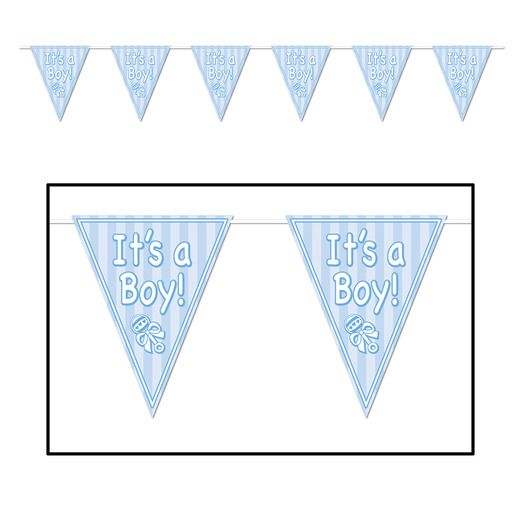 Baby Shower Decorations Its A Boy Pennant Banner Image