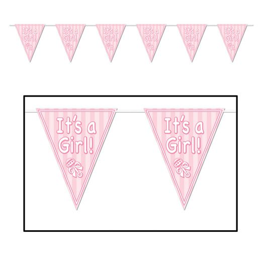 Baby Shower Decorations Its A Girl Pennant Banner Image
