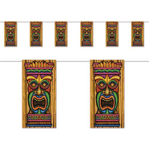 Luau Decorations Tiki Pennant Banner Image