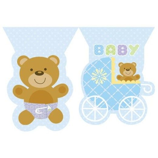Baby Shower Decorations Teddy Baby Blue Flag Banner Image