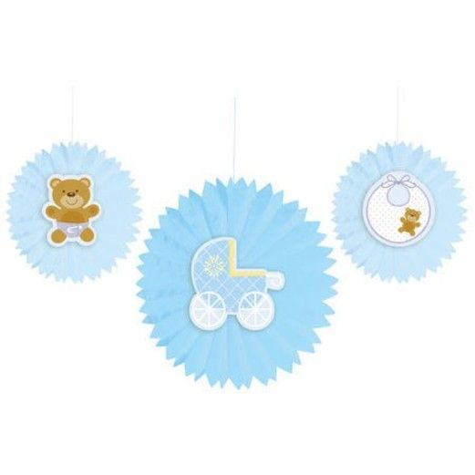 Baby Shower Decorations Teddy Baby Blue Tissue Fans Image