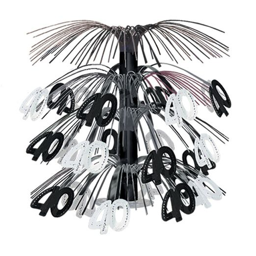 Birthday Party Decorations 40th Black Silver Cascade Centerpiece Image