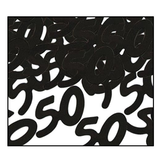 "Birthday Party Decorations ""50"" Confetti Black Image"