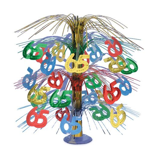 Birthday Party Decorations 65th Multicolor Cascade Centerpiece Image