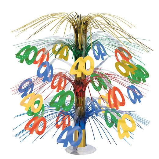 Birthday Party Decorations 40th Muticolor Cascade Centerpiece Image