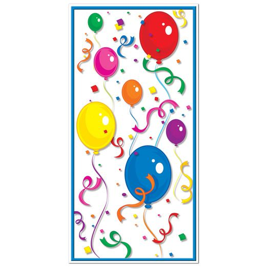 Birthday Party Decorations Balloons & Confetti Door Cover Image