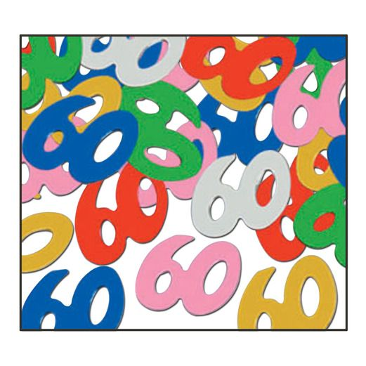 "Birthday Party Decorations ""60"" Confetti Multicolor Image"