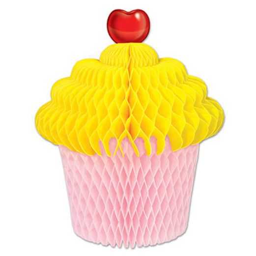 Birthday Party Decorations Yellow and Pink Cupcake Centerpiece Image