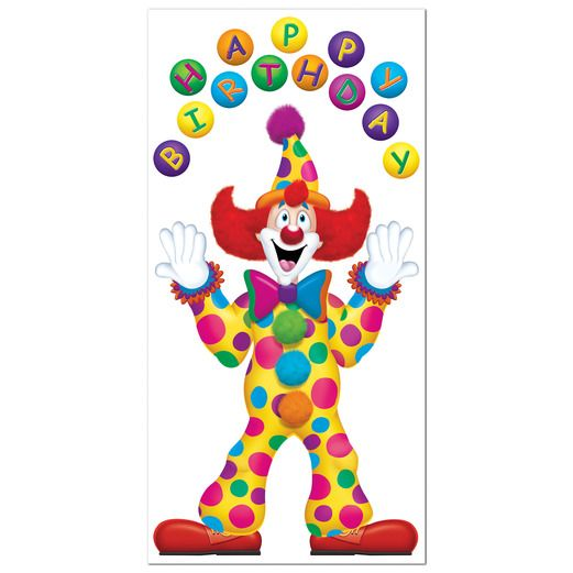 Birthday Party Decorations Birthday Clown Door Cover Image