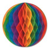 "Birthday Party Decorations 12"" Rainbow Tissue Ball Image"