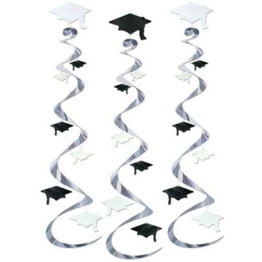 Graduation Decorations Black and White Grad Cap Whirls Image
