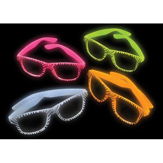 Jungle & Safari Favors & Prizes Glow in the Dark Zebra Glasses Image