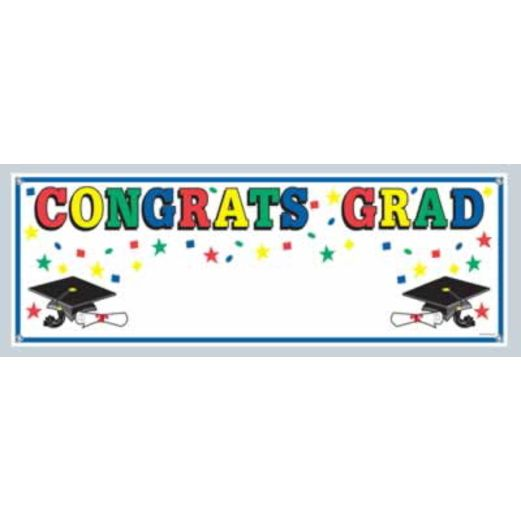 Graduation Decorations Congrats Grad Sign Banner Image