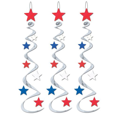 Red-Silver-Blue Star Whirls