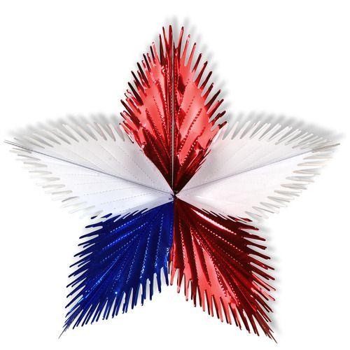 "16"" Red, White and Blue Leaf Starburst"