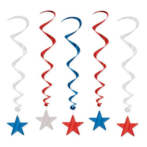 Red, Silver and Blue Star Whirls