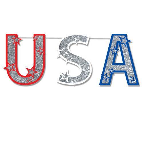 Glittered USA Streamer