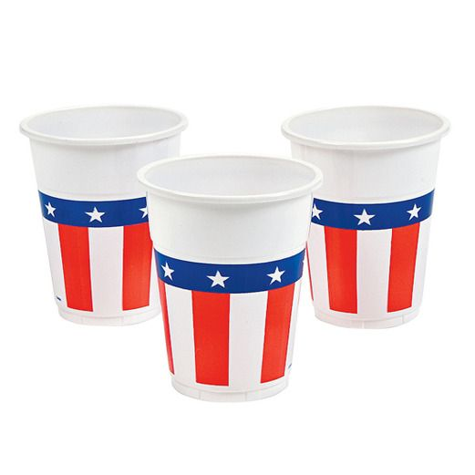 4th of July Table Accessories USA Flag Plastic Cups Image