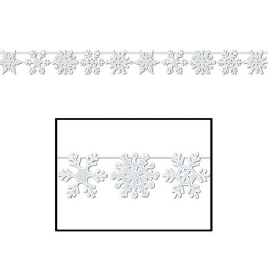 Christmas Decorations Glittered Snowflake Streamer Image
