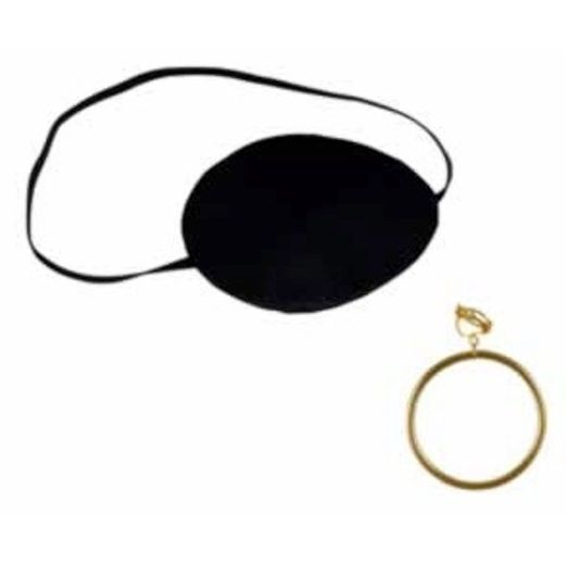 Pirates Party Wear Pirate Eye Patch with Plastic Gold Earring Image