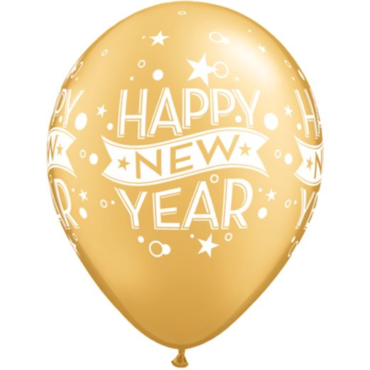 New Years Balloons Gold Happy New Year Stars and Swirls Balloons Image