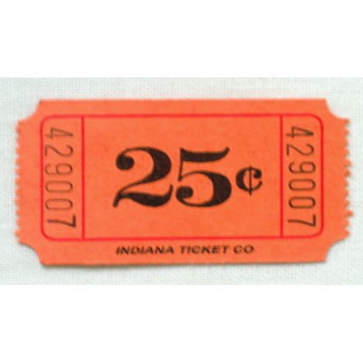 Tickets & Wristbands Orange 25 Cent Ticket Roll Image