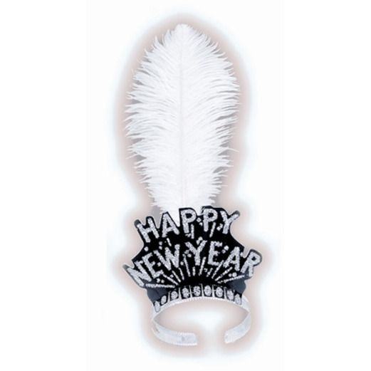 New Years Hats & Headwear White Feather Swing Tiara Image