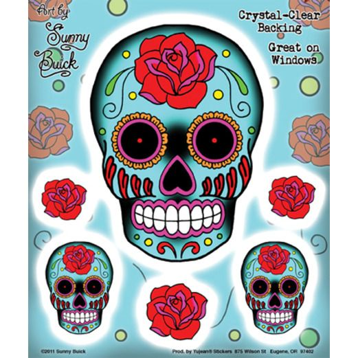 Day of the Dead Favors & Prizes Sugar Skull and Rose Stickers Image