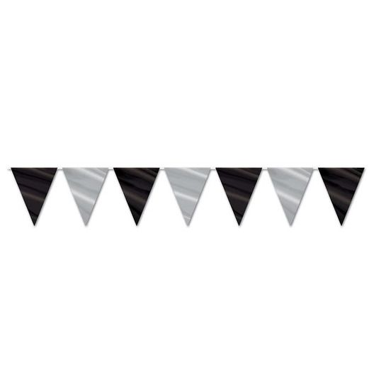 New Years Decorations Black and Silver Pennant Banner Image