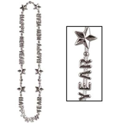 New Years Party Wear Silver Happy New Year Bead Necklace Image