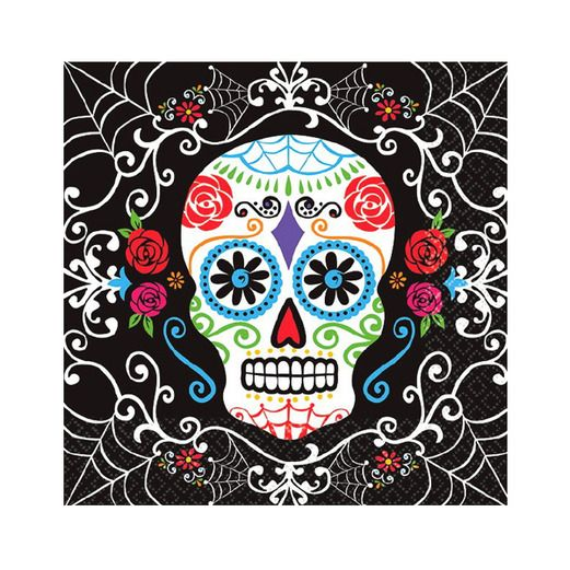 Day of the Dead Table Accessories Sugar Skull Beverage Napkins Image