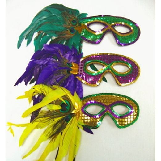 Mardi Gras Party Wear Mardi Gras Feather Mask with Stick Image