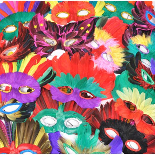Mardi Gras Party Wear Brite Feather Mask Assortment Image