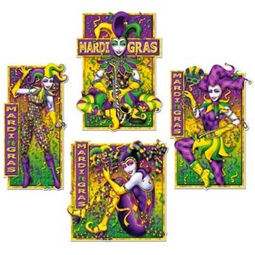 Mardi Gras Decorations Masquerade Mime Cutouts Image