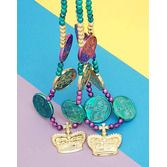 Mardi Gras Party Wear Coin and Crown Beaded Necklace Image