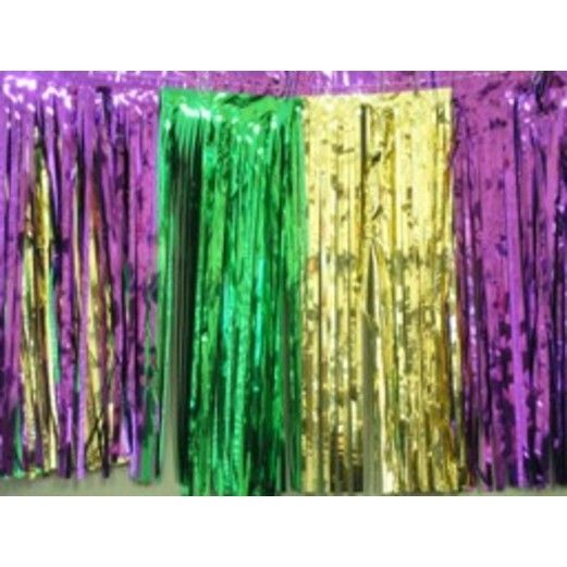 Green-Gold-Purple Metallic Fringe Drape
