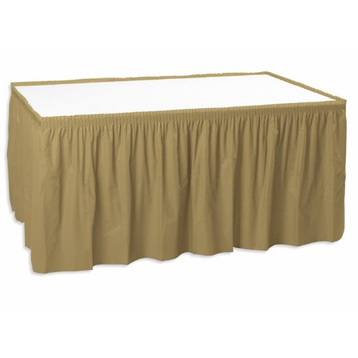 New Years Table Accessories Metallic Gold Table Skirt Image