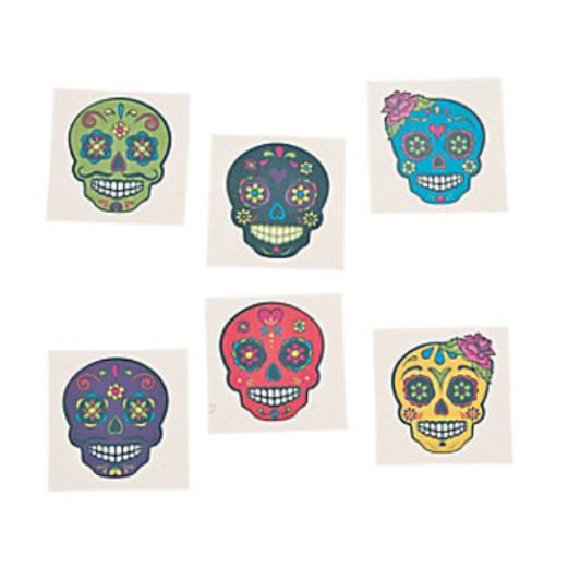 Day of the Dead Favors & Prizes Paper Sugar Skull Tattoos Image