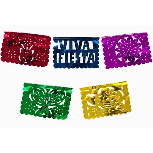 Cinco de Mayo Decorations Mini Fiesta Metallic Picado Banner Image