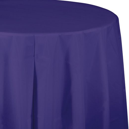 Mardi Gras Table Accessories Round Table Cover Purple Image