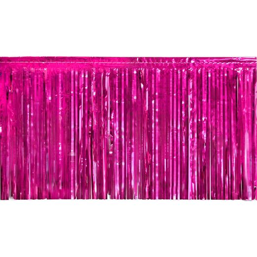 Valentine's Day Decorations Cerise Metallic Fringe Drape Image