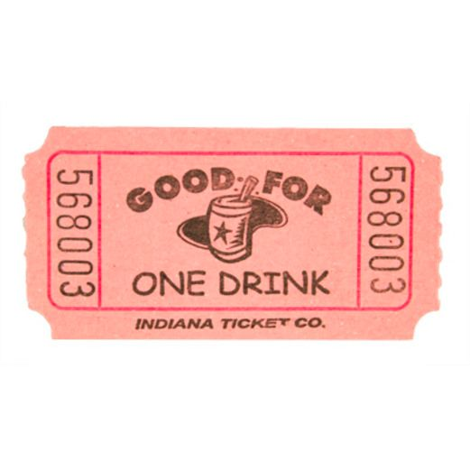 Tickets & Wristbands Pink Drink Ticket Roll Image