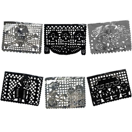 Day of the Dead Decorations DOD Black and Silver Metallic Picado Image