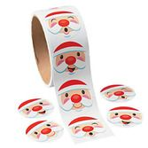 Christmas Favors & Prizes Paper Santa Face Roll Stickers Image