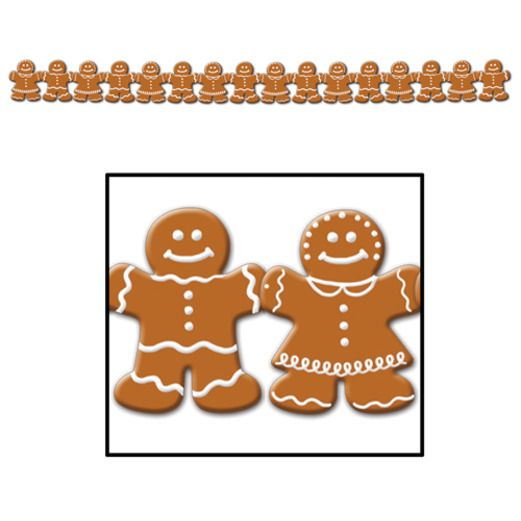Christmas Decorations Gingerbread Man Streamer Image