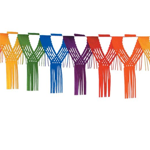 Birthday Party Decorations Rainbow Drop Fringe Garland Image