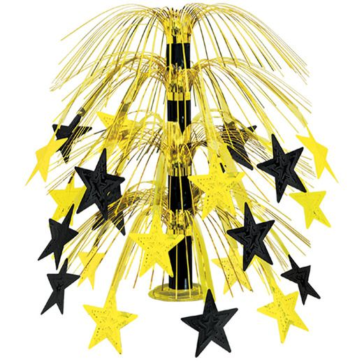 New Years Decorations Black and Gold Star Cascade Centerpiece Image