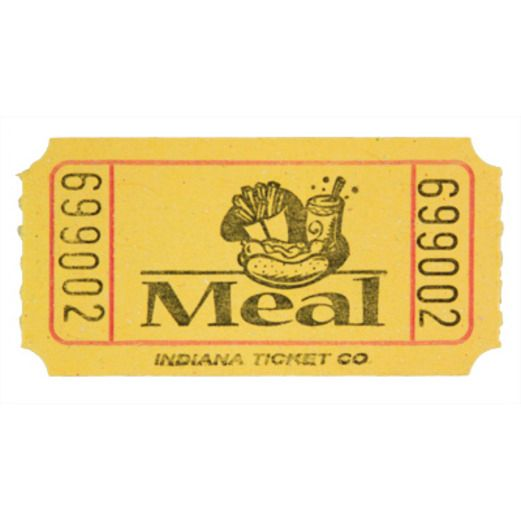 Tickets & Wristbands Yellow Meal Ticket Roll Image