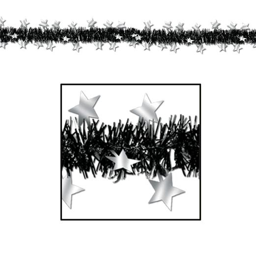 New Years Decorations Black and Silver Metallic Star Garland Image