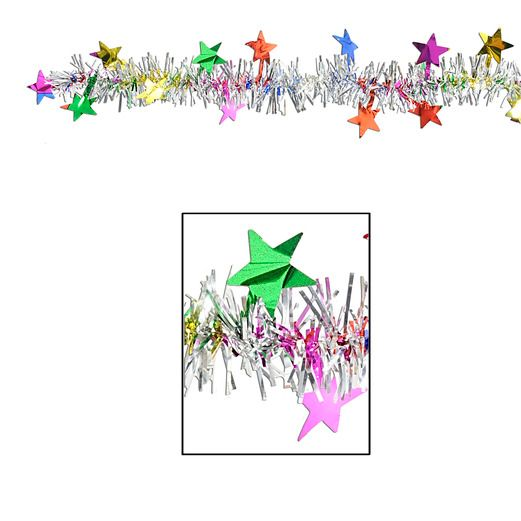 New Years Decorations Multicolor Metallic Star Garland Image